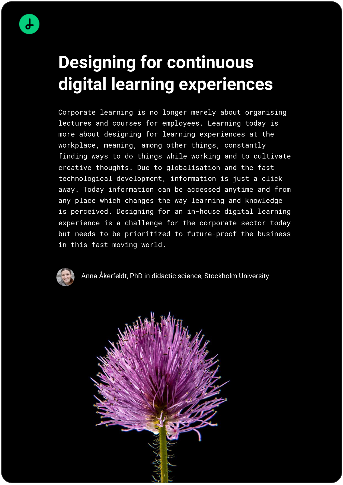 Designing for continuous digital learning experiences white paper