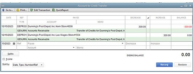 QuickBooks : Between-Jobs Credits Transfer | Exigo Business