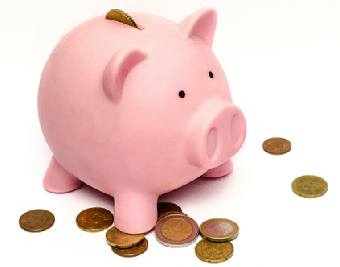 Pink Piggy Bank with money going in and laying around it