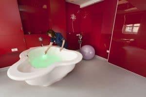 Nurse running a bath