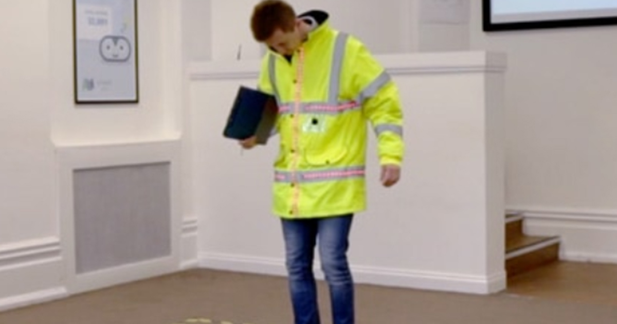 Worker testing out wearable tech