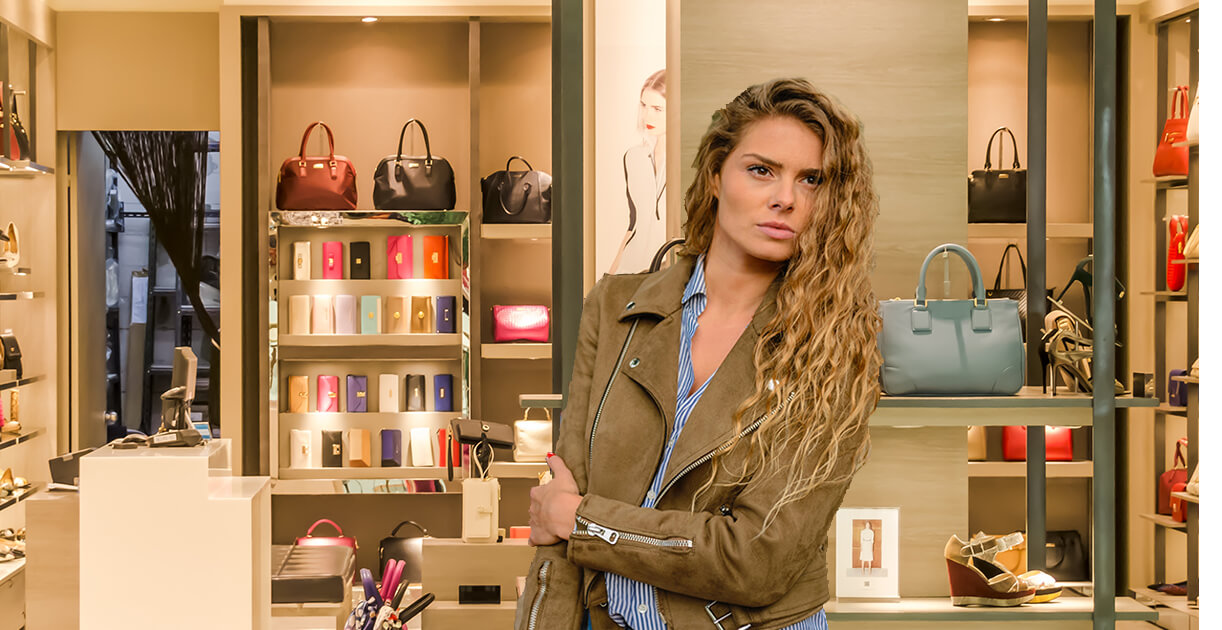 Woman looking angry in a shop