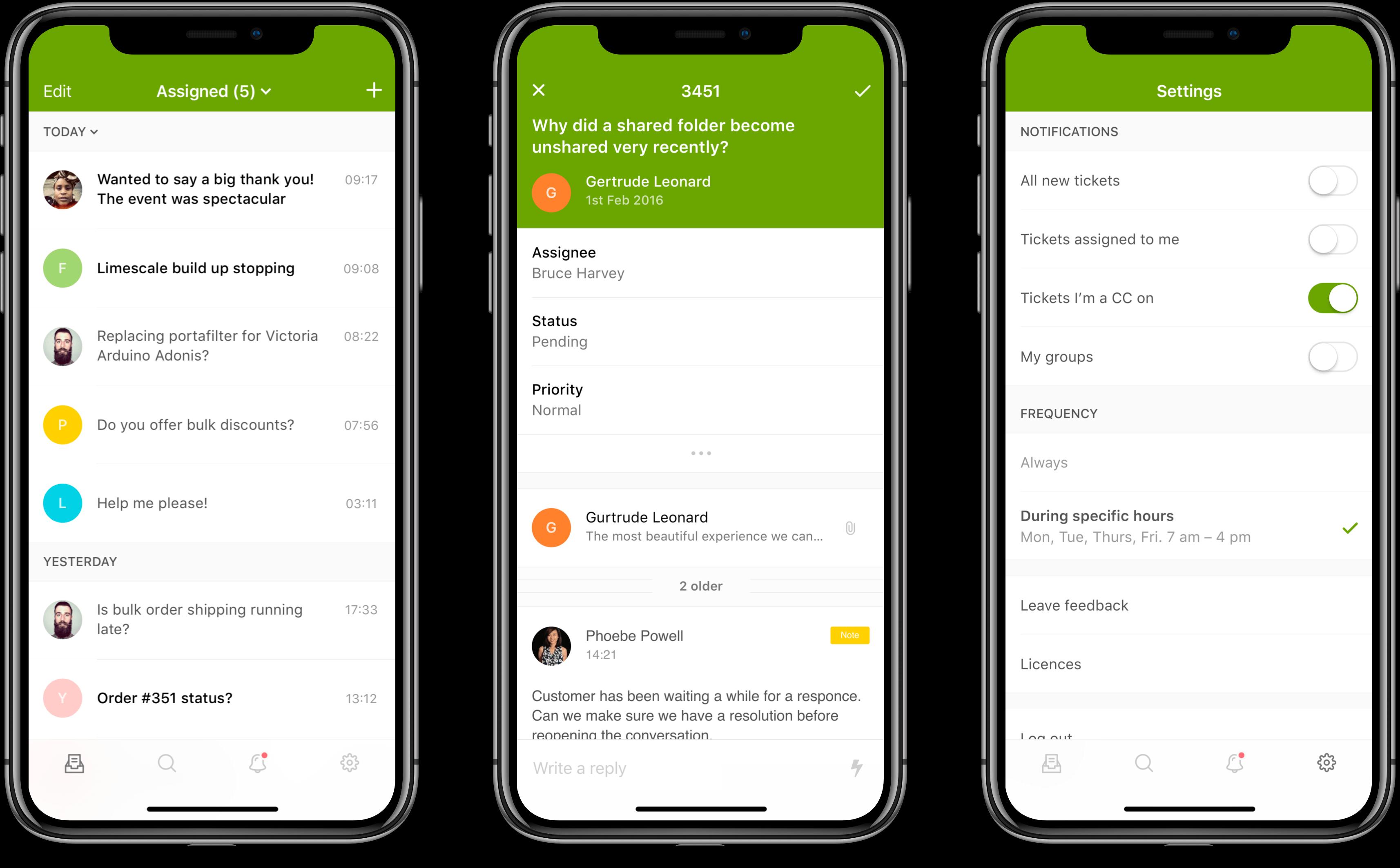 iPhone screens of Zendesk Support mobile app design