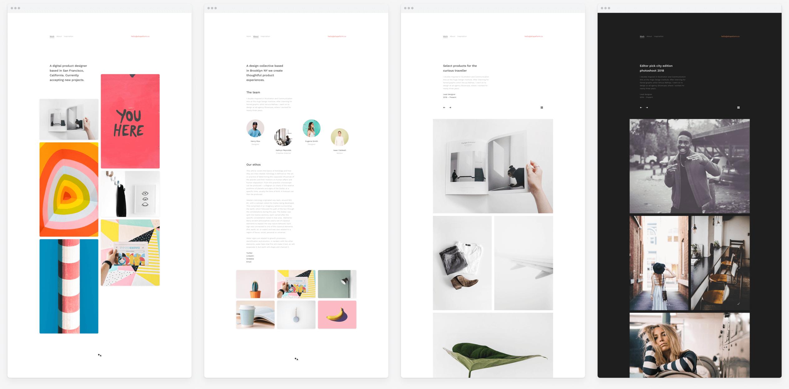 Web screenshot of Shapeform portfolio theme