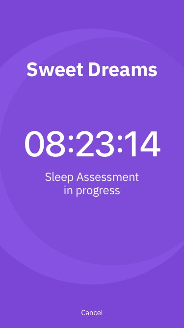 Screenshot of sleep analysis in progress on Beddr app
