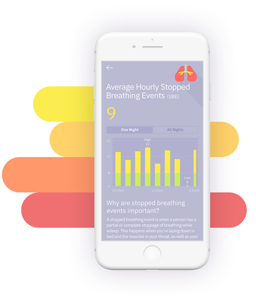 Beddr mobile app showing Stopped Breathing Events metrics