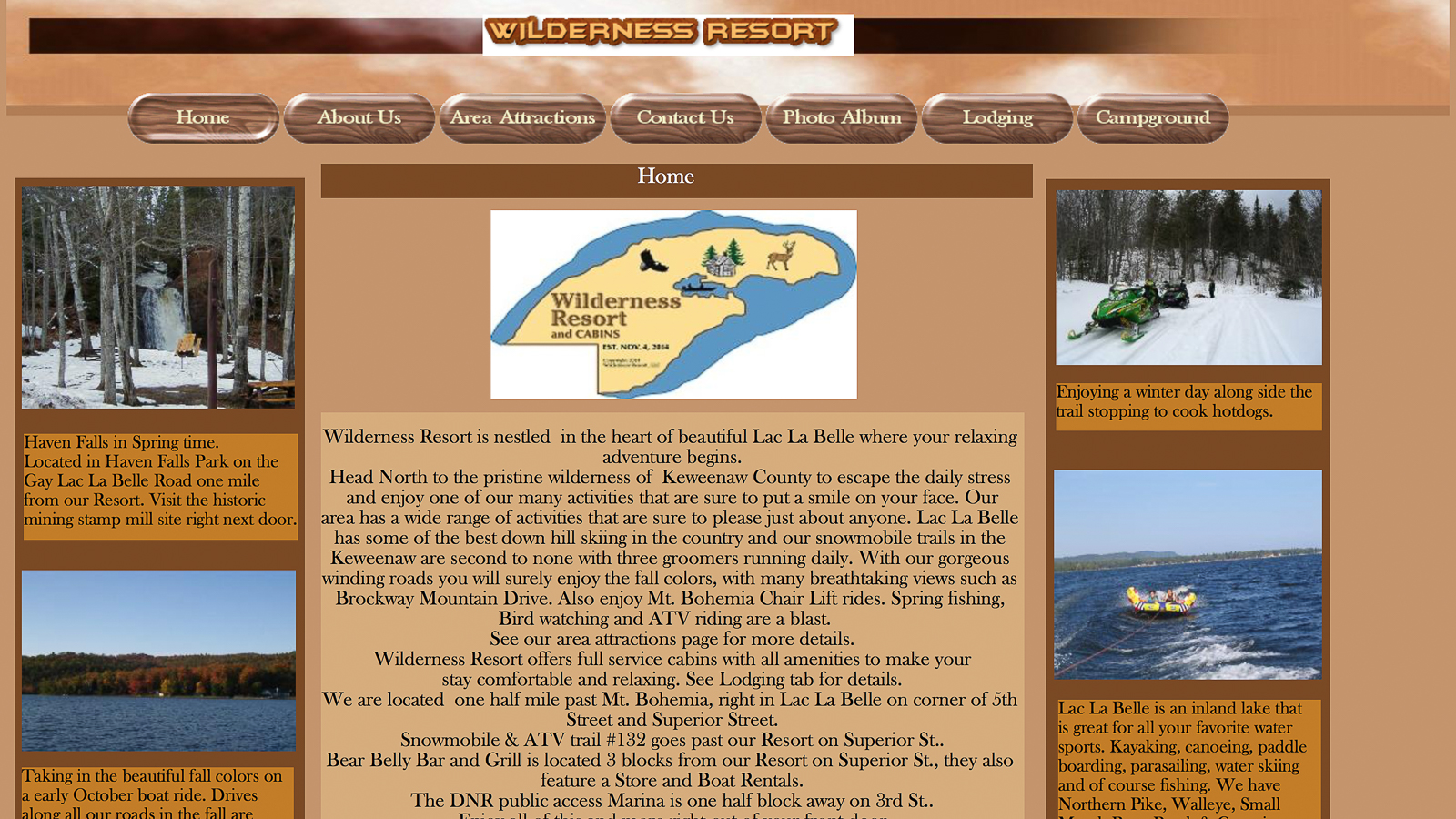 Old Wilderness Resort Website Homepage