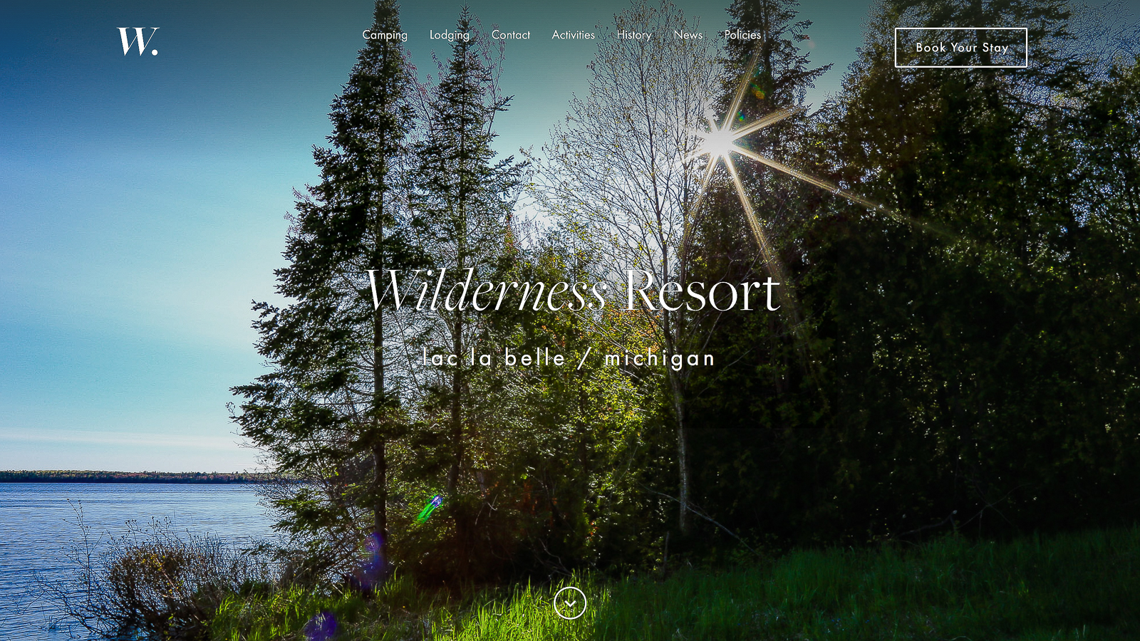 New Wilderness Resort Website Homepage