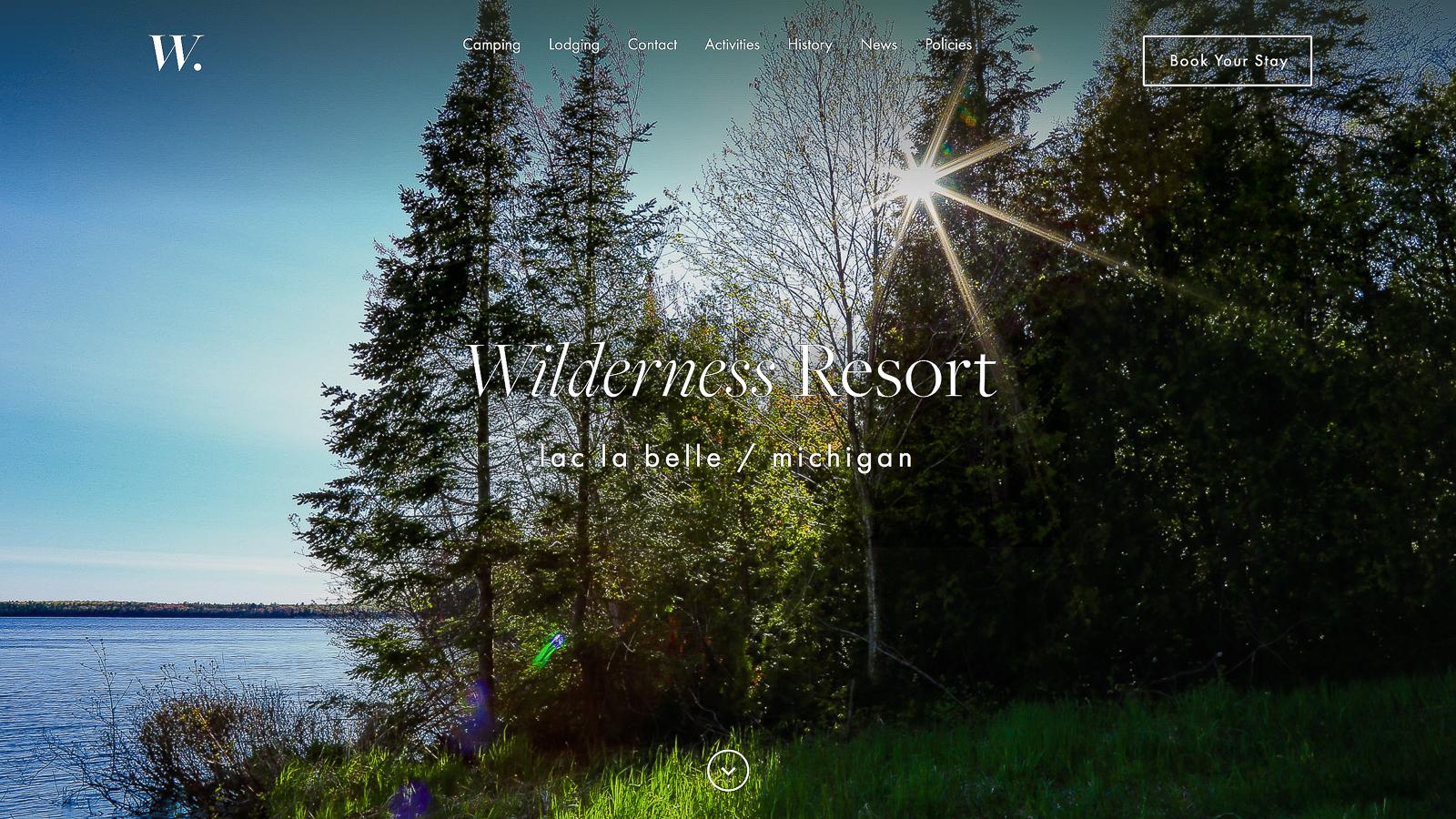 New Wilderness Resort Website Homepage