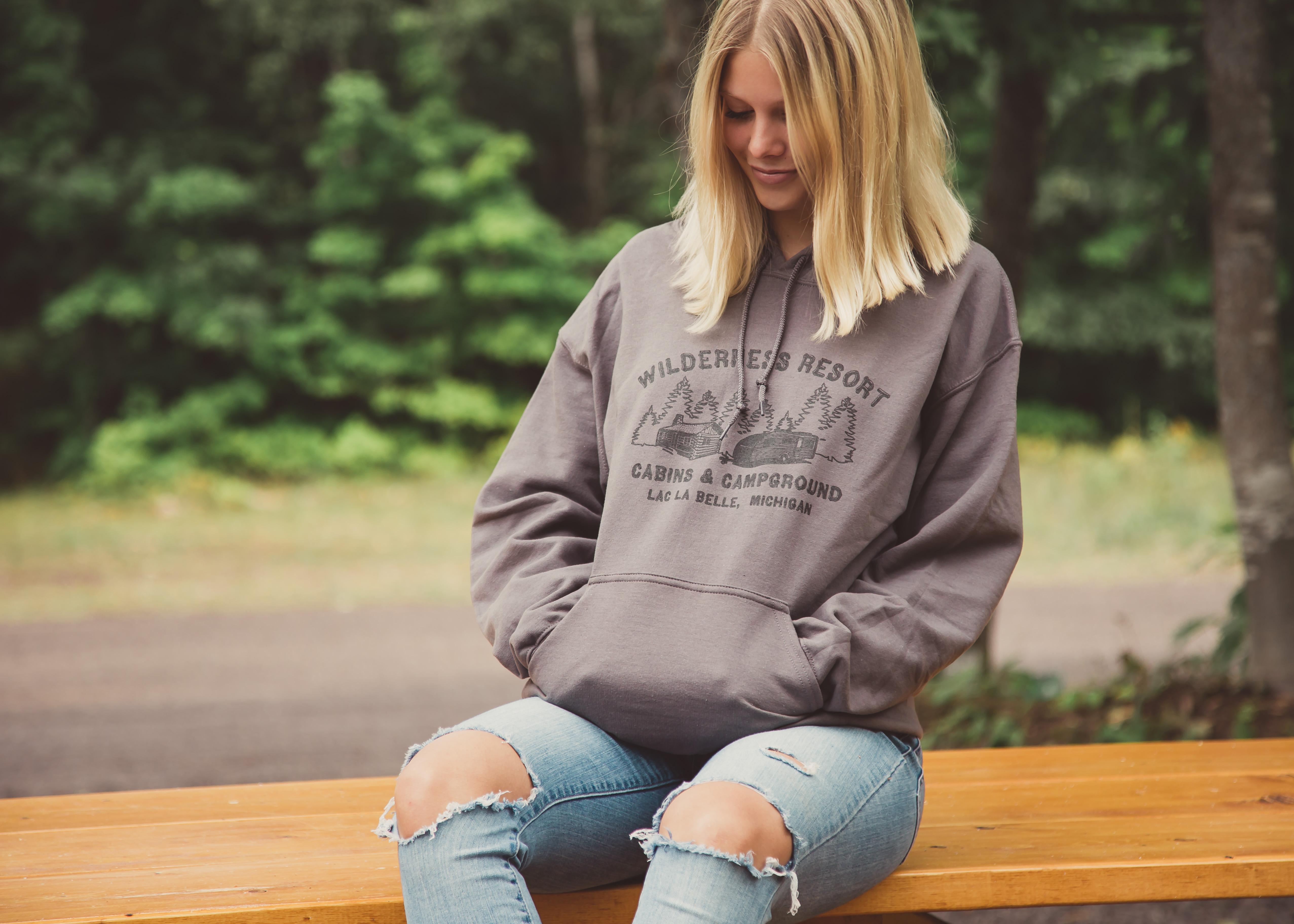 Wilderness Resort LLC Apparel Grey Hoodie on Model Maddy