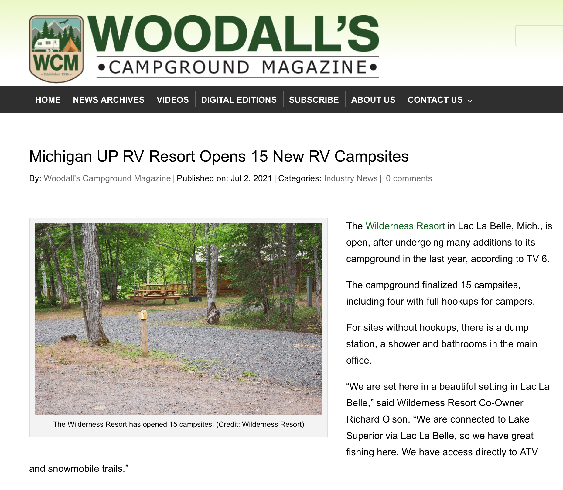 Woodall's Campground Magazine features the Wilderness Resort LLC