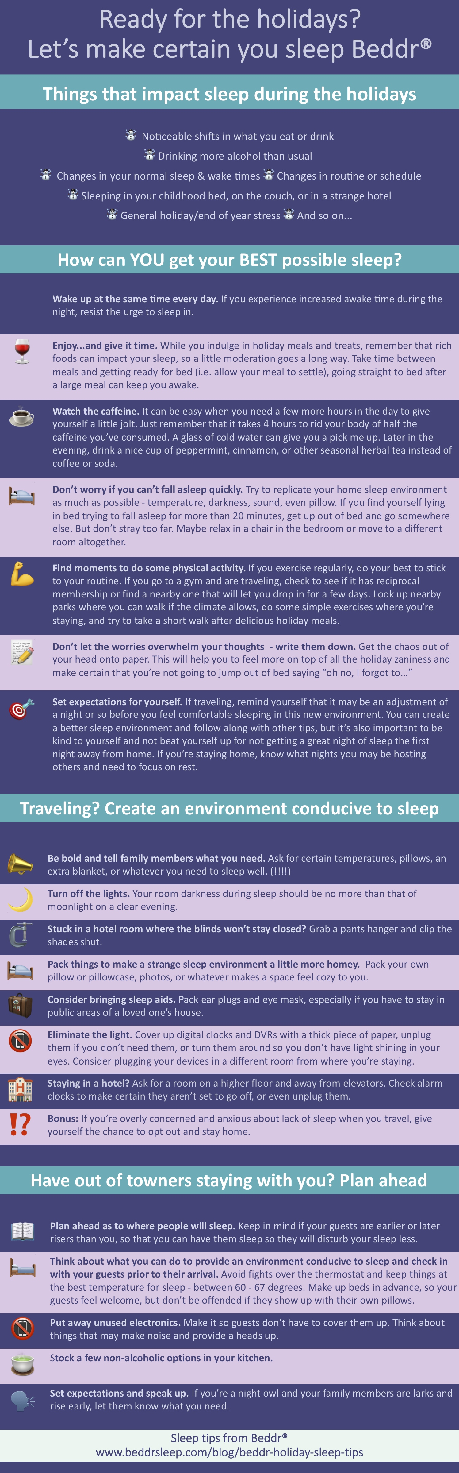 "Infographic of Holiday Sleep Tips - Ready for the holidays? Let's make certain you sleep Beddr(R). Things that impact sleep during the holidays: ☃  Noticeable shifts in what you eat or drink ☃ Drinking more alcohol than usual ︎  ☃  Changes in your normal sleep & wake times ☃ Changes in routine or schedule  ☃ Sleeping in your childhood bed, on the couch, or in a strange hotel  ☃ General holiday/end of year stress ☃ And so on...How can YOU get your BEST possible sleep? Wake up at the same time every day. If you experience increased awake time during the night, resist the urge to sleep in.  Enjoy...and give it time. While you indulge in holiday meals and treats, remember that rich foods can impact your sleep, so a little moderation goes a long way. Take time between meals and getting ready for bed (i.e. allow your meal to settle), going straight to bed after a large meal can keep you awake.  Watch the caffeine. It can be easy when you need a few more hours in the day to give yourself a little jolt. Just remember that it takes 4 hours to rid your body of half the caffeine you've consumed. A glass of cold water can give you a pick me up. Later in the evening, drink a nice cup of peppermint, cinnamon, or other seasonal herbal tea instead of coffee or soda.  Don't worry if you can't fall asleep quickly. Try to replicate your home sleep environment as much as possible - temperature, darkness, sound, even pillow. If you find yourself lying in bed trying to fall asleep for more than 20 minutes, get up out of bed and go somewhere else. But don't stray too far. Maybe relax in a chair in the bedroom or move to a different room altogether.   Find moments to do some physical activity. If you exercise regularly, do your best to stick to your routine. If you go to a gym and are traveling, check to see if it has reciprocal membership or find a nearby one that will let you drop in for a few days. Look up nearby parks where you can walk if the climate allows, do some simple exercises where you're staying, and try to take a short walk after delicious holiday meals.   Don't let the worries overwhelm your thoughts  - write them down. Get the chaos out of your head onto paper. This will help you to feel more on top of all the holiday zaniness and make certain that you're not going to jump out of bed saying ""oh no, I forgot to…""  Set expectations for yourself. If traveling, remind yourself that it may be an adjustment of a night or so before you feel comfortable sleeping in this new environment. You can create a better sleep environment and follow along with other tips, but it's also important to be kind to yourself and not beat yourself up for not getting a great night of sleep the first night away from home. If you're staying home, know what nights you may be hosting others and need to focus on rest. Traveling? Create an environment conducive to sleep. Be bold and tell family members what you need. Ask for certain temperatures, pillows, an extra blanket, or whatever you need to sleep well. (!!!!)   Turn off the lights. Your room darkness during sleep should be no more than that of moonlight on a clear evening.  Stuck in a hotel room where the blinds won't stay closed? Grab a pants hanger and clip the shades shut.  Pack things to make a strange sleep environment a little more homey.  Pack your own pillow or pillowcase, photos, or whatever makes a space feel cozy to you.  Consider bringing sleep aids. Pack ear plugs and eye mask, especially if you have to stay in public areas of a loved one's house.  Eliminate the light. Cover up digital clocks and DVRs with a thick piece of paper, unplug them if you don't need them, or turn them around so you don't have light shining in your eyes. Consider plugging your devices in a different room from where you're staying.  Staying in a hotel? Ask for a room on a higher floor and away from elevators. Check alarm clocks to make certain they aren't set to go off, or even unplug them.  Bonus: If you're overly concerned and anxious about lack of sleep when you travel, give yourself the chance to opt out and stay home. Have out of towners staying with you? Plan ahead. Plan ahead as to where people will sleep. Keep in mind if your guests are earlier or later risers than you, so that you can have them sleep so they will disturb your sleep less.   Think about what you can do to provide an environment conducive to sleep and check in with your guests prior to their arrival. Avoid fights over the thermostat and keep things at the best temperature for sleep - between 60 - 67 degrees. Make up beds in advance, so your guests feel welcome, but don't be offended if they show up with their own pillows.  Put away unused electronics. Make it so guests don't have to cover them up. Think about things that may make noise and provide a heads up.  Stock a few non-alcoholic options in your kitchen. Set expectations and speak up. If you're a night owl and your family members are larks and rise early, let them know what you need."