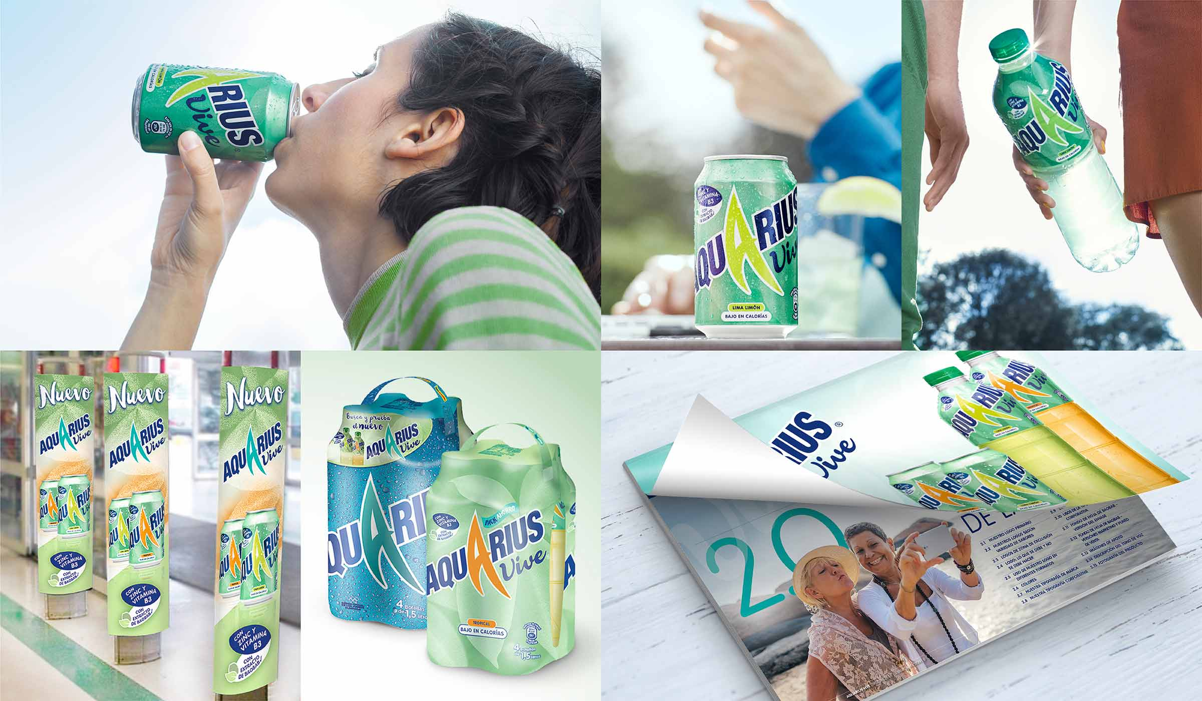 This image is a collage of numerous Aquarius Vive images, including a lady enjoying drinking from a can of Aquarius Vive used for the advertising campaign, as well as images of POS units, supermarket advertising boards designed by P&W as well as Aquarius Vive multipacks and the Aquarius Vive guidelines document that we produced in Spanish.