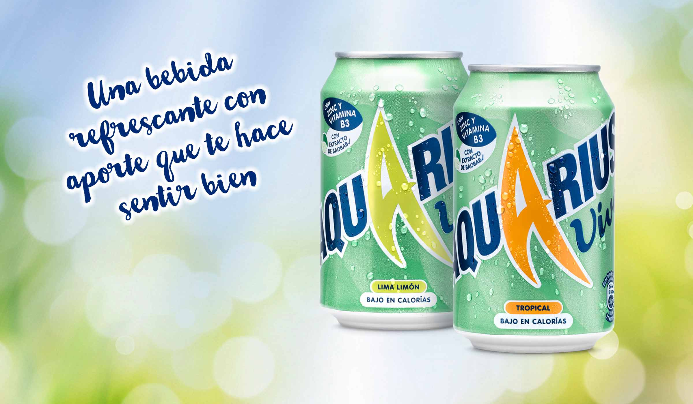 This image shows two Aquarius Vive cans, one in flavour LIMA LIMÓN and one in flavour TROPICAL. The cans are green featuring a Baobab leaf background, and are covered in water droplets. The background is an abstract blue and green image.