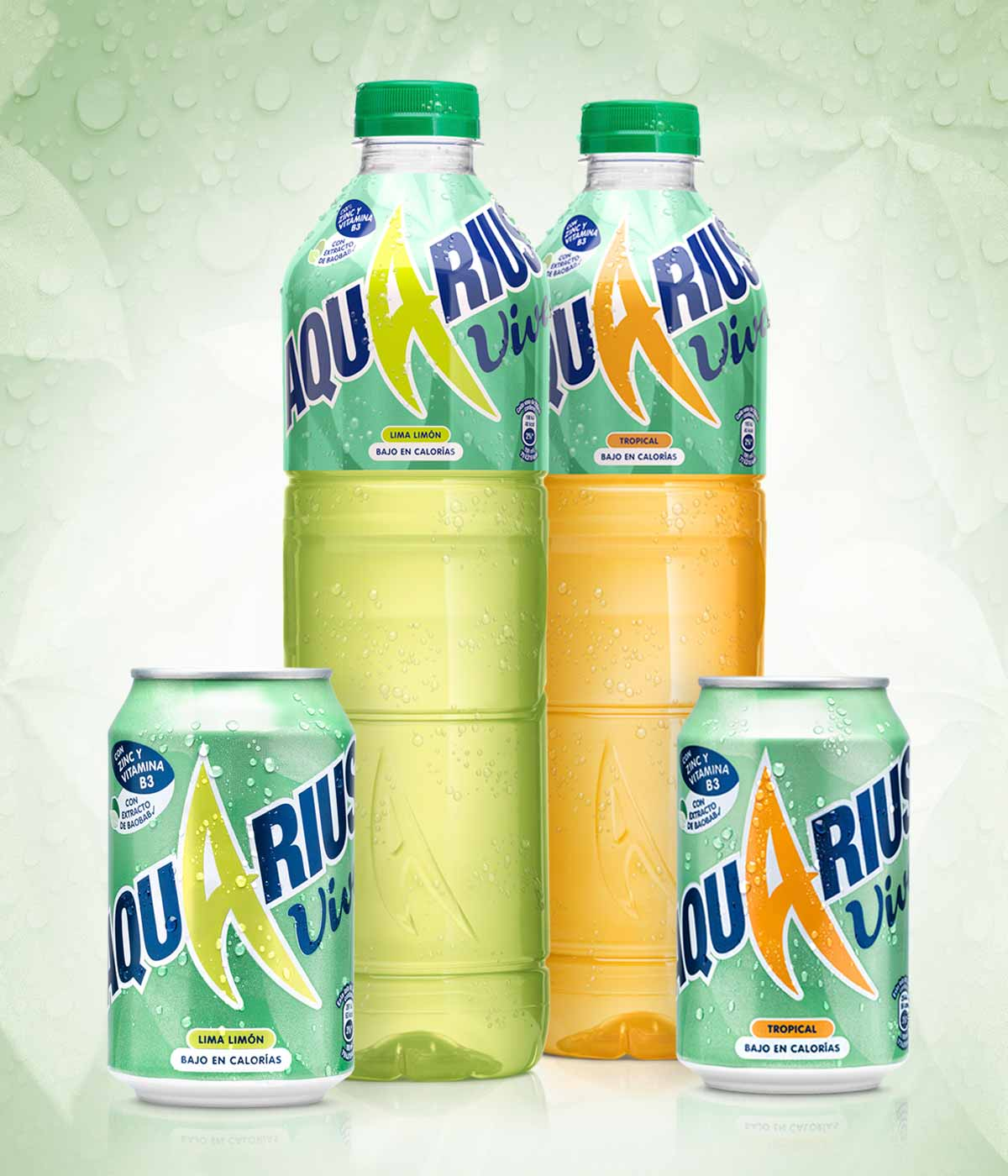 This image featured two large bottles of Aquarius Vive and two 330ml cans of Aquarius Vive. There are Tropical and Lemon & Lime variants in the image. P&W produced the packaging design for the range.