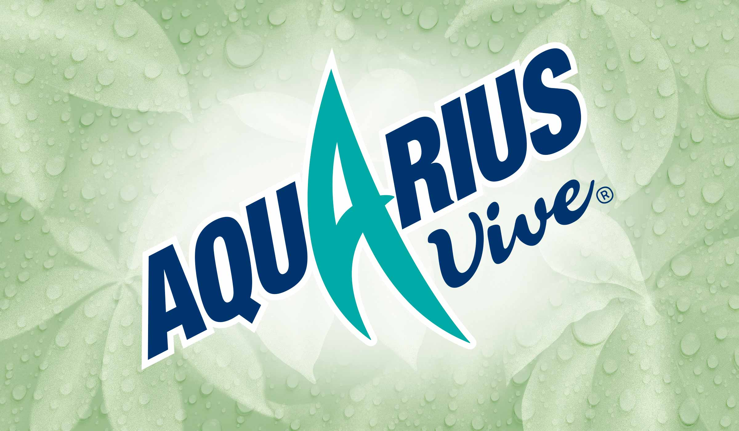 The Aquarius Vive logo that P&W designed for The Coca-Cola Company. The image includes a green Baobab leaf background that P&W illustrated, including mouth-watering water droplets.