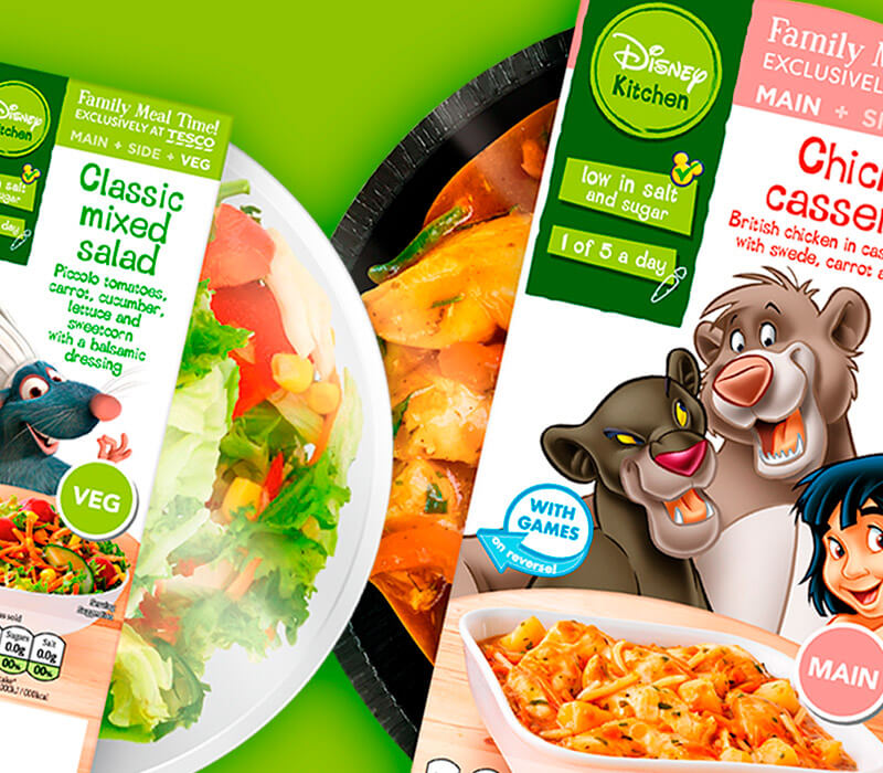 This image is a close-up of the packaging designs Pemberton & Whitefoord LLP produced for Disney Kitchen, a range of ready-meals designed that feature games and quizzes on the reverse of the sleeves for the whole family to enjoy together. The fun and playful packaging design solution features Disney characters, like those from The Jungle Book.