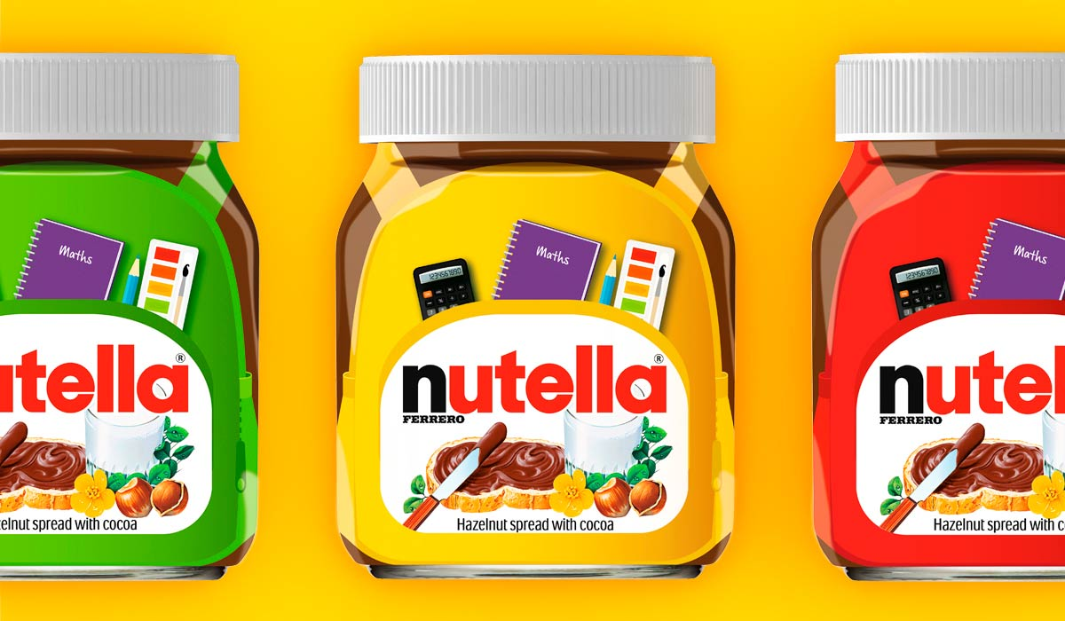This image is of three Nutella jars. Pemberton & Whitefoord LLP has worked with Nutella for many years on their advertising, packaging design and more. This image features colourful jars for the brand's Back-to-School range.