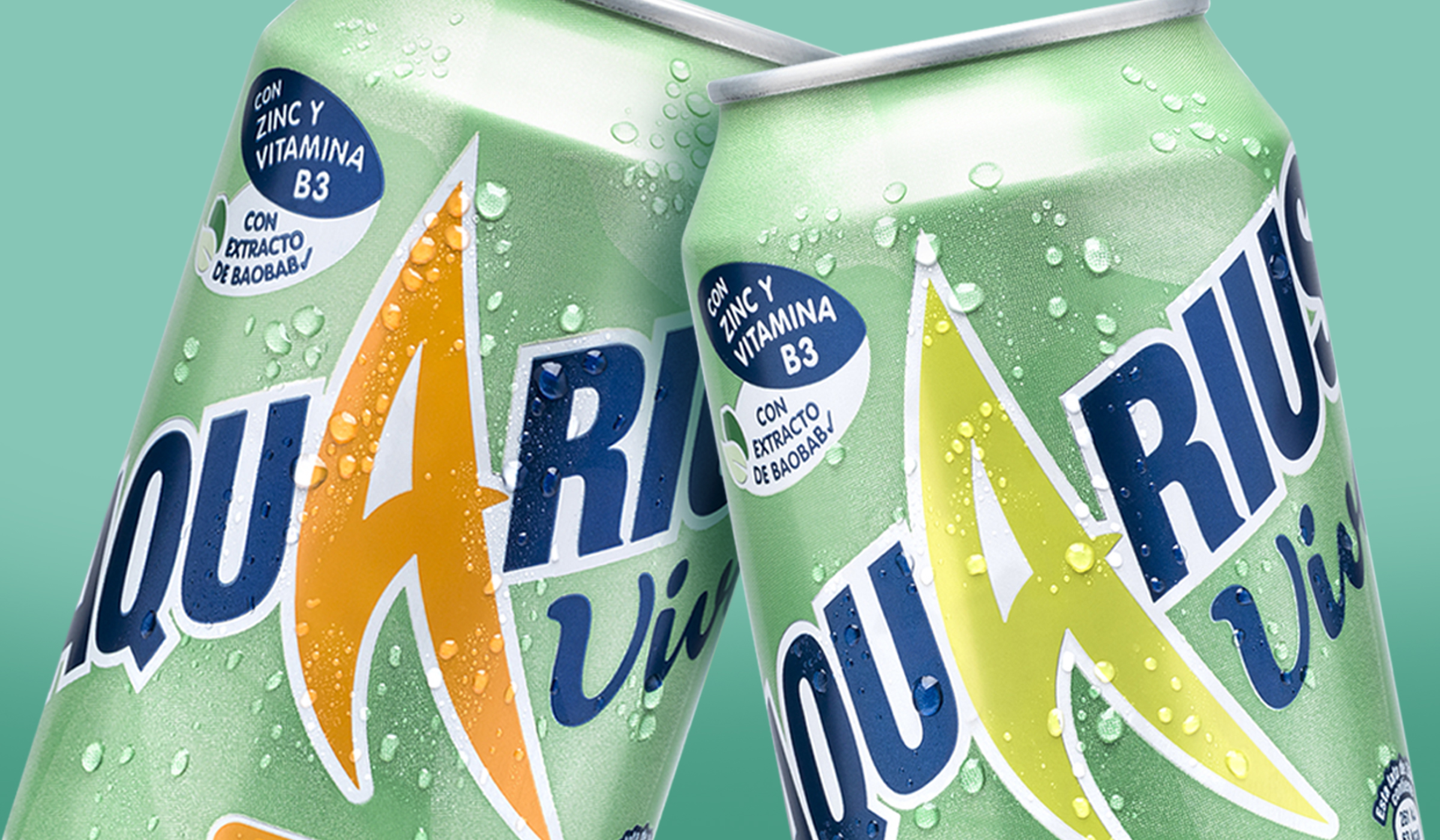 This image is of both flavour variants of Aquarius Vive. The can packaging design was produced by P&W for The Coca-Cola Company Iberia.