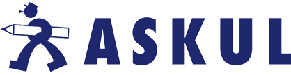 This is the Askul logo in a dark blue featuring a man carrying a pencil