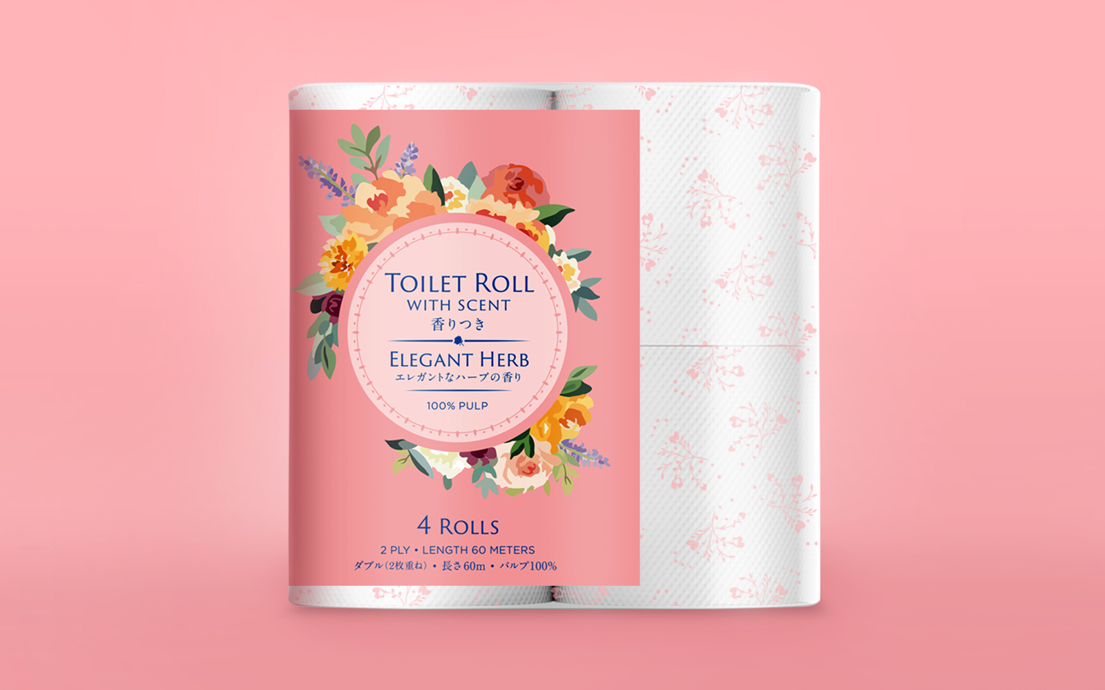 This image is of a pack of four toilet rolls. The packaging design is floral and feminine featuring roses and leaves of a pastel pink background.