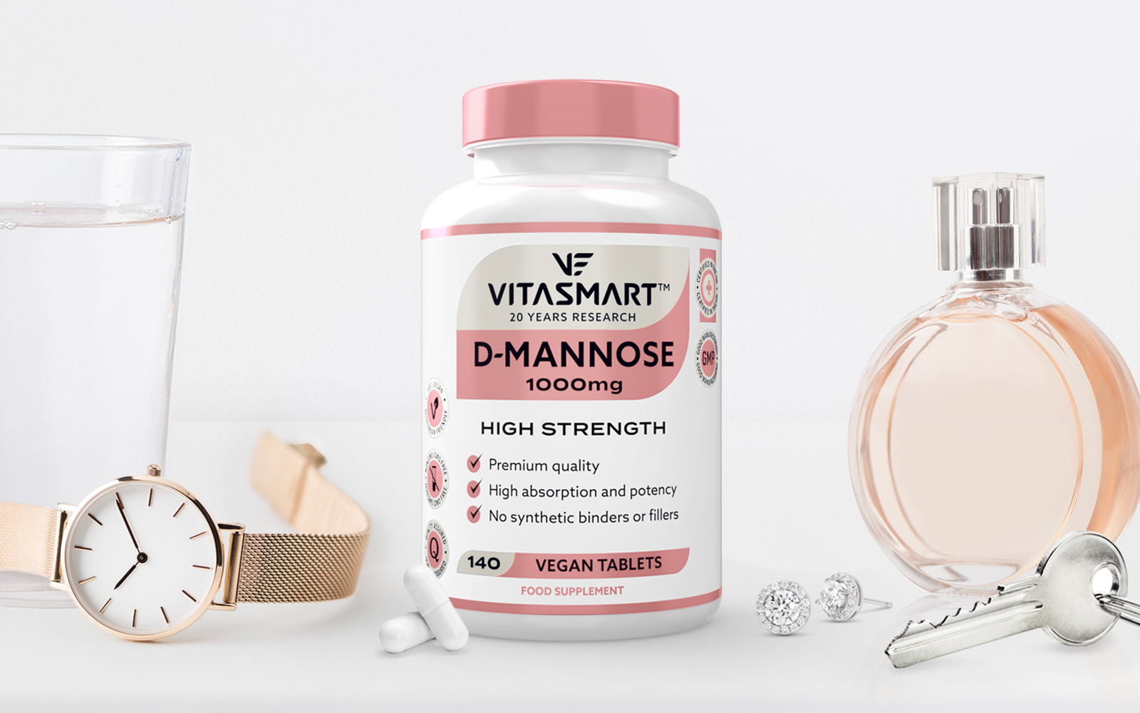 Vitasmart - 20 years research - designed by P&W. D-mannose. Certified in the UK. Dressing table. Women's watch, perfume, healthy happy lifestyle.