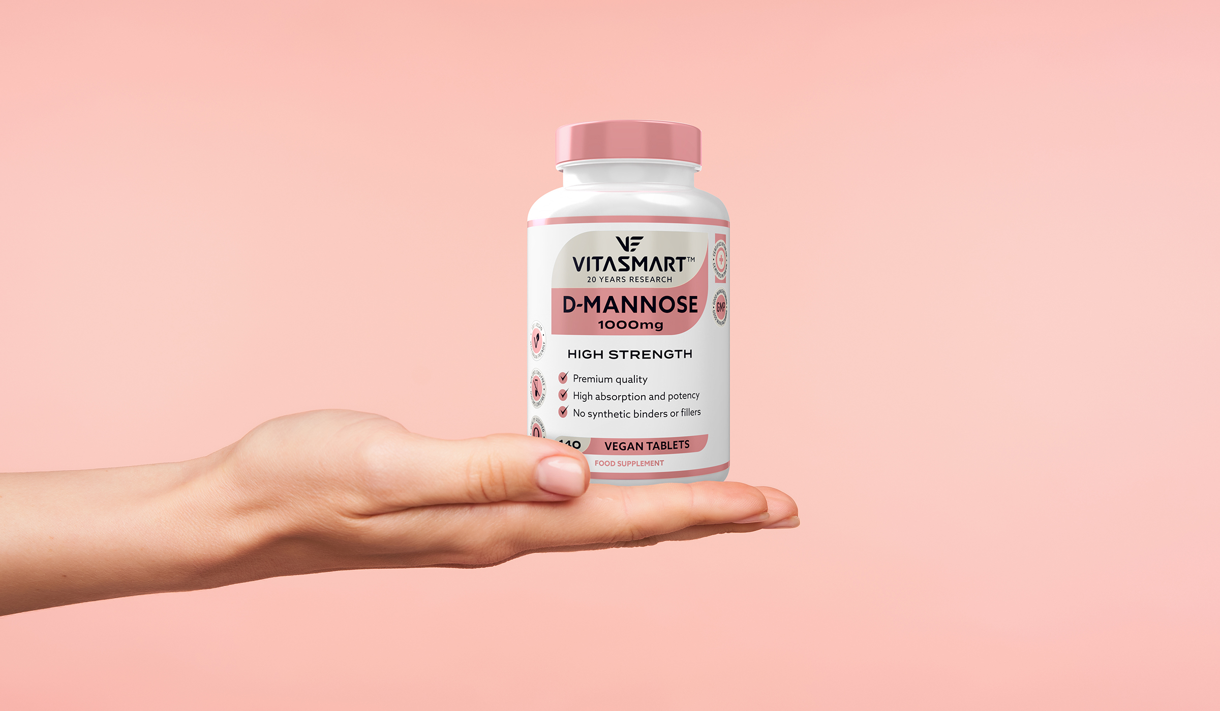 Vitasmart - 20 years research - designed by P&W. D-mannose. Vegan tablets bottle.
