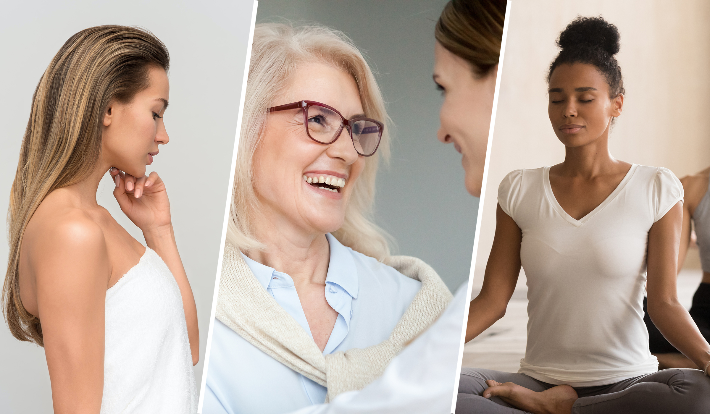 Vitasmart - 20 years research - designed by P&W. D-mannose. Certified in the UK. Serene looking women who have happy and healthy lifestyle.