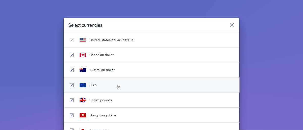 Een afbeelding van de valuta in Shopify