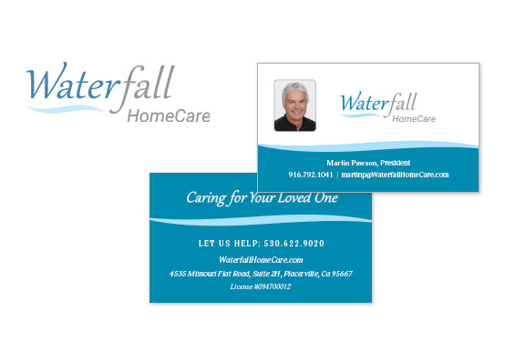 Waterfall HomeCare Logo and Business Cards
