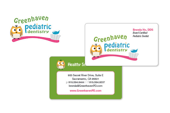Greenhaven Pediatric Dentistry Logo and Business Cards