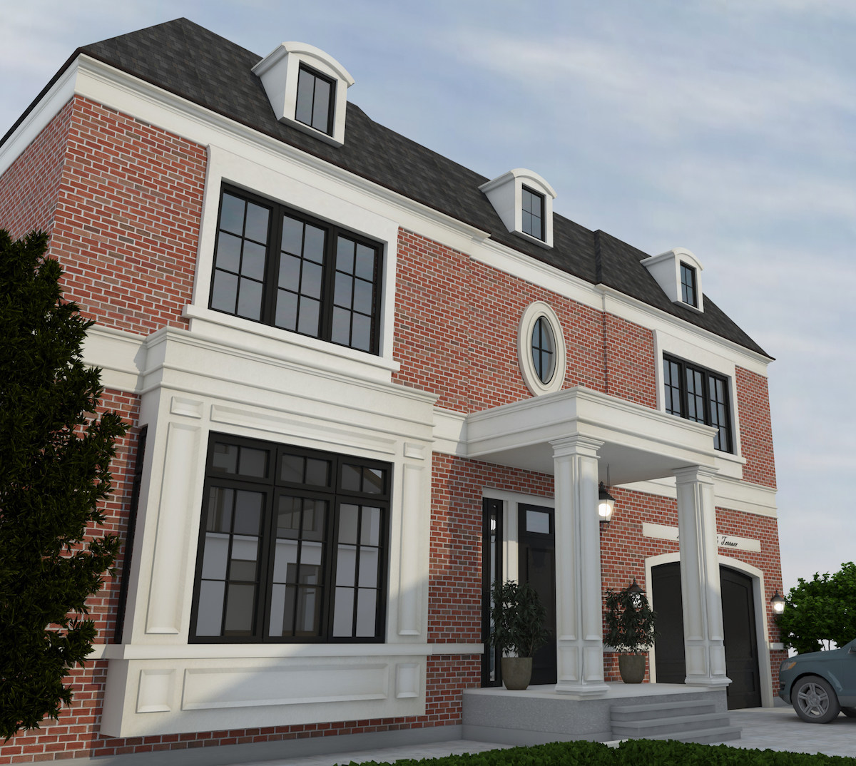 Residential exterior rendering of a house