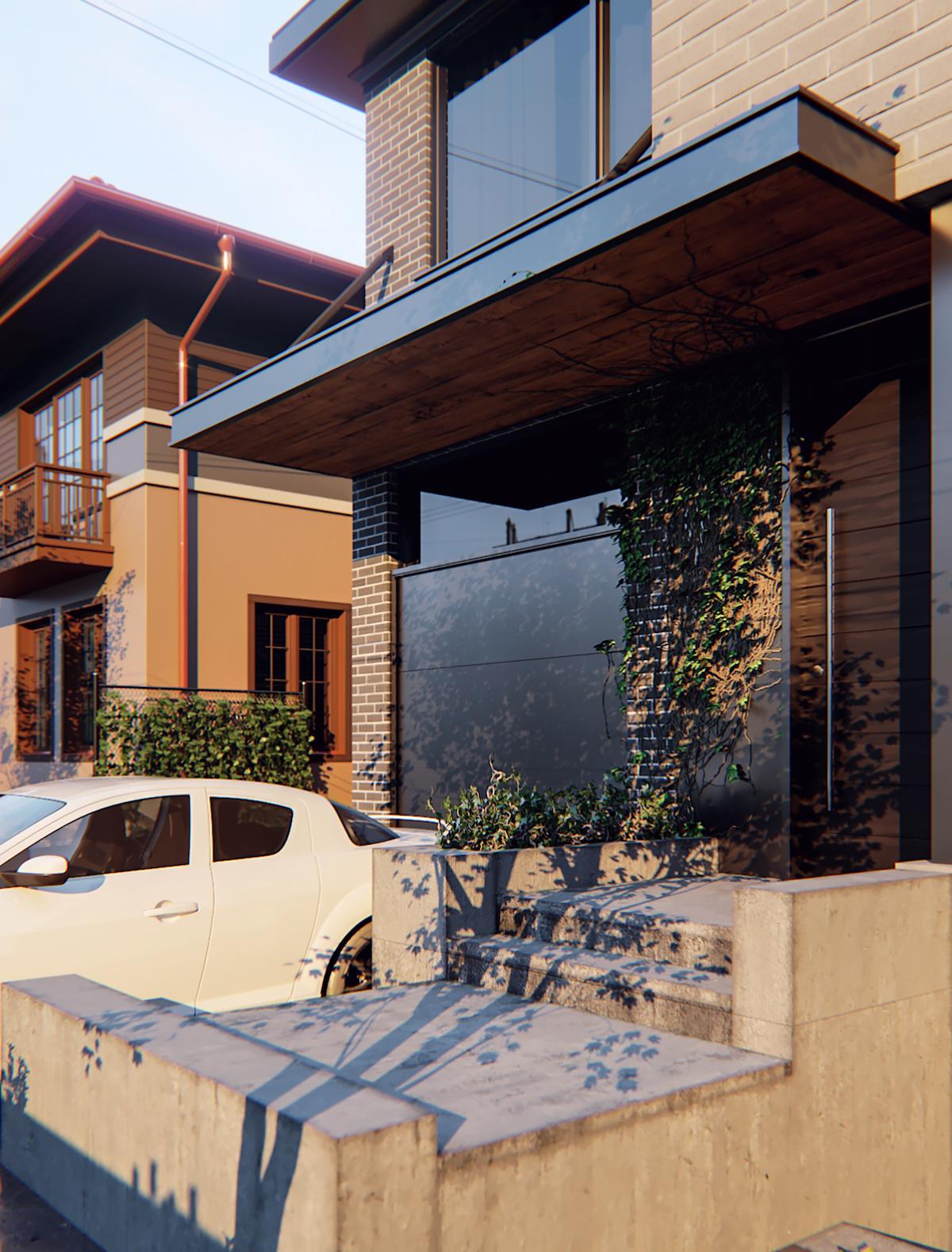 Modern residential exterior rendering