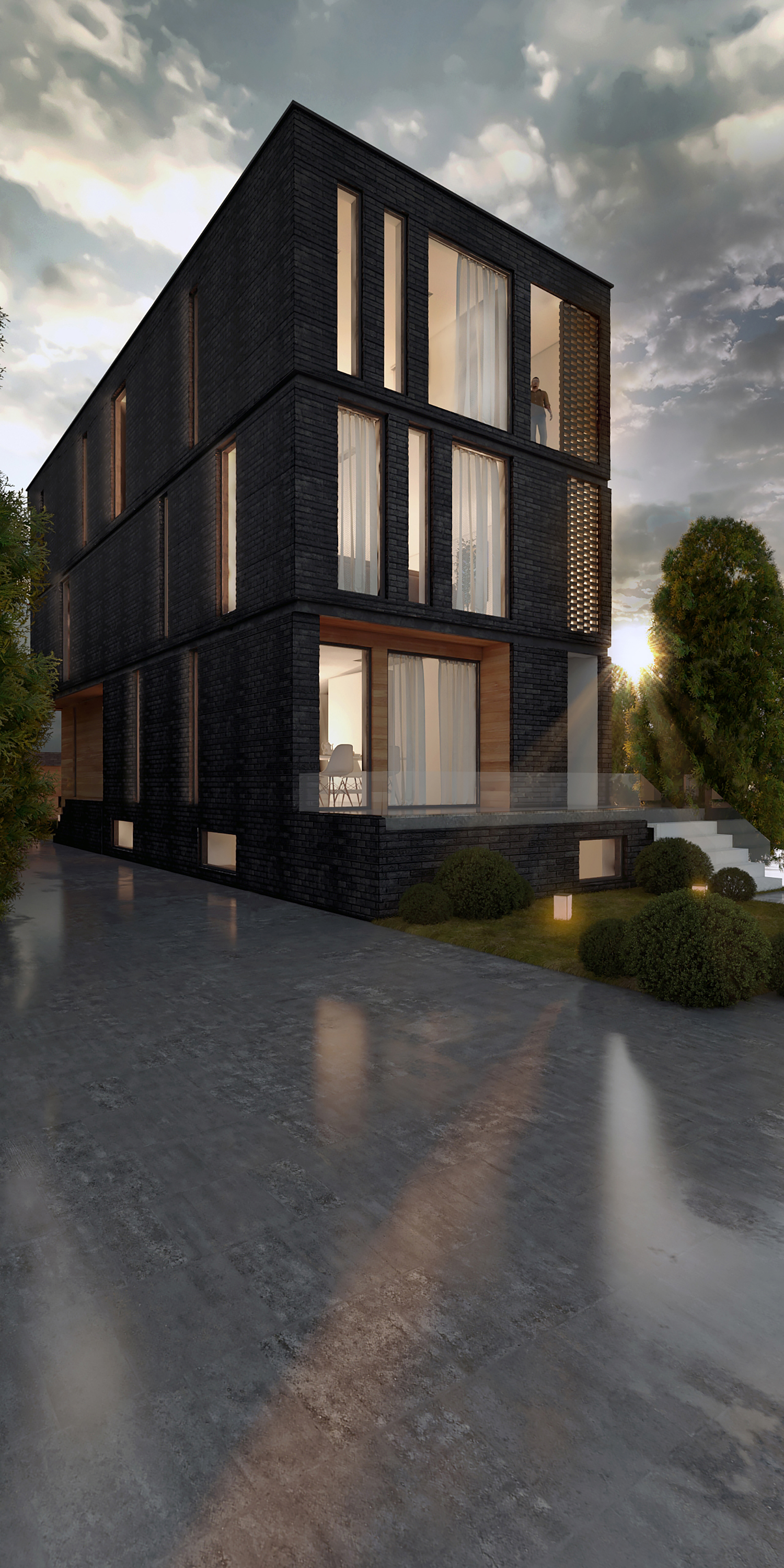 Modern home exterior rendering