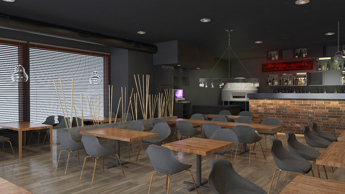 Interior rendering of cafe