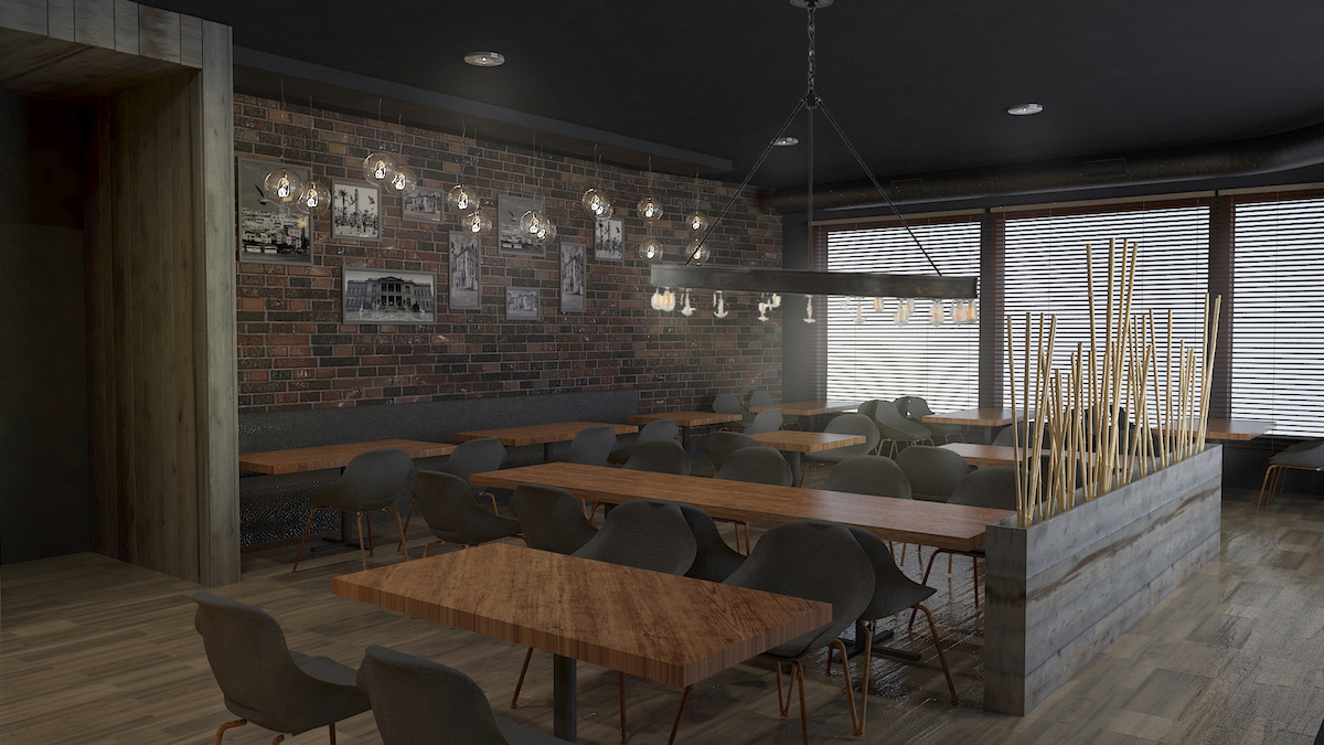 Interior rendering of cafe space