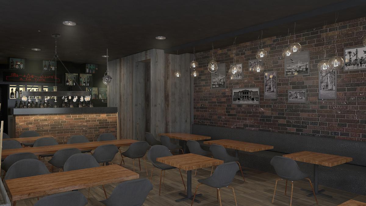 Interior rendering of bar
