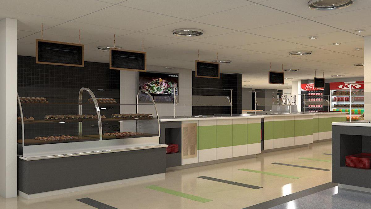 Interior rendering of BMO cafeteria