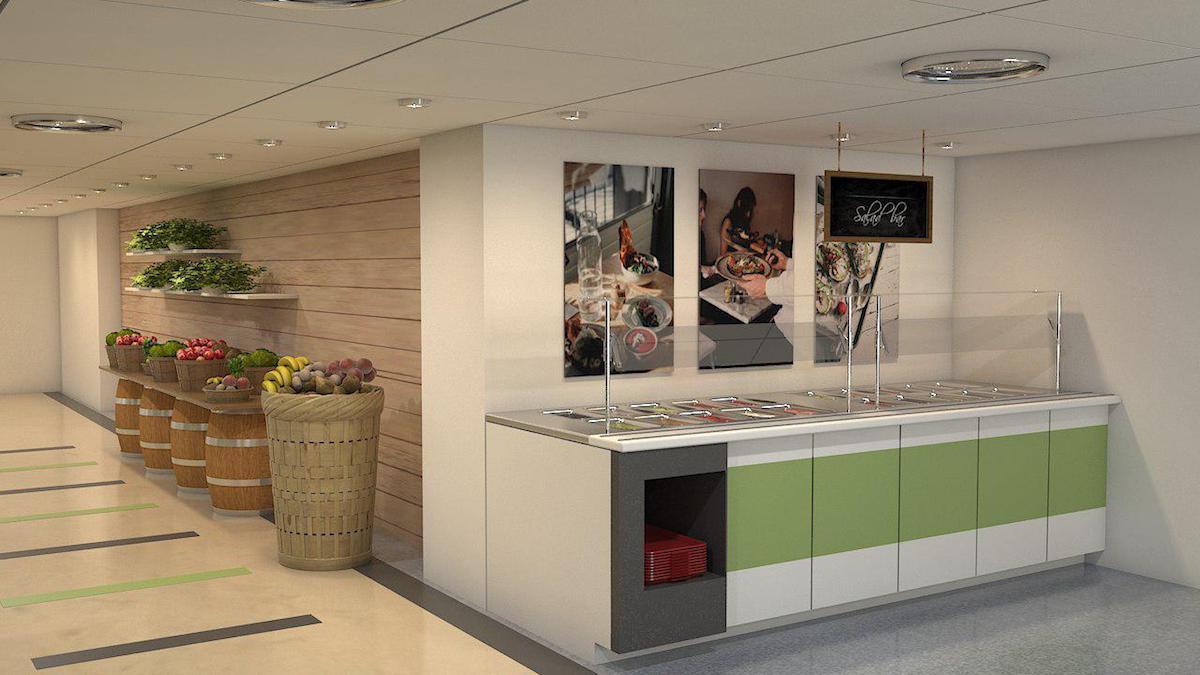 Interior rendering of BMO cafe