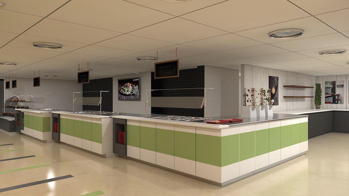 Interior rendering of BMO cafeteria