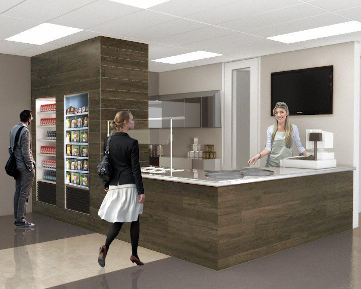 Interior rendering of BMO cafe