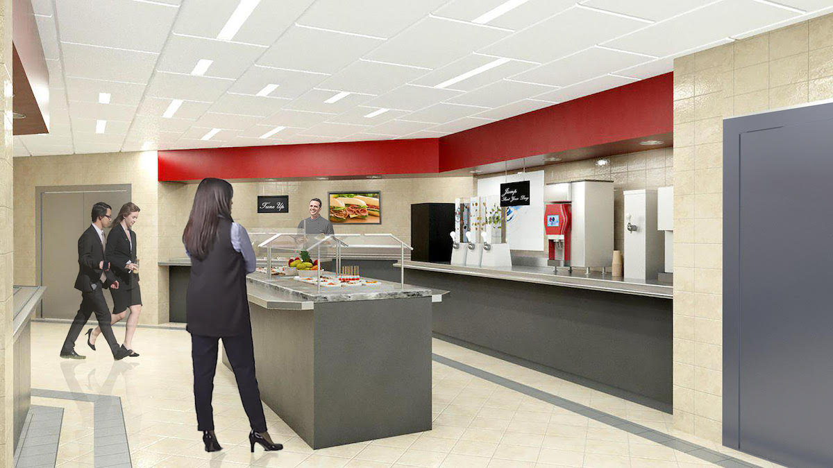 Interior rendering of Canadian Tire cafeteria