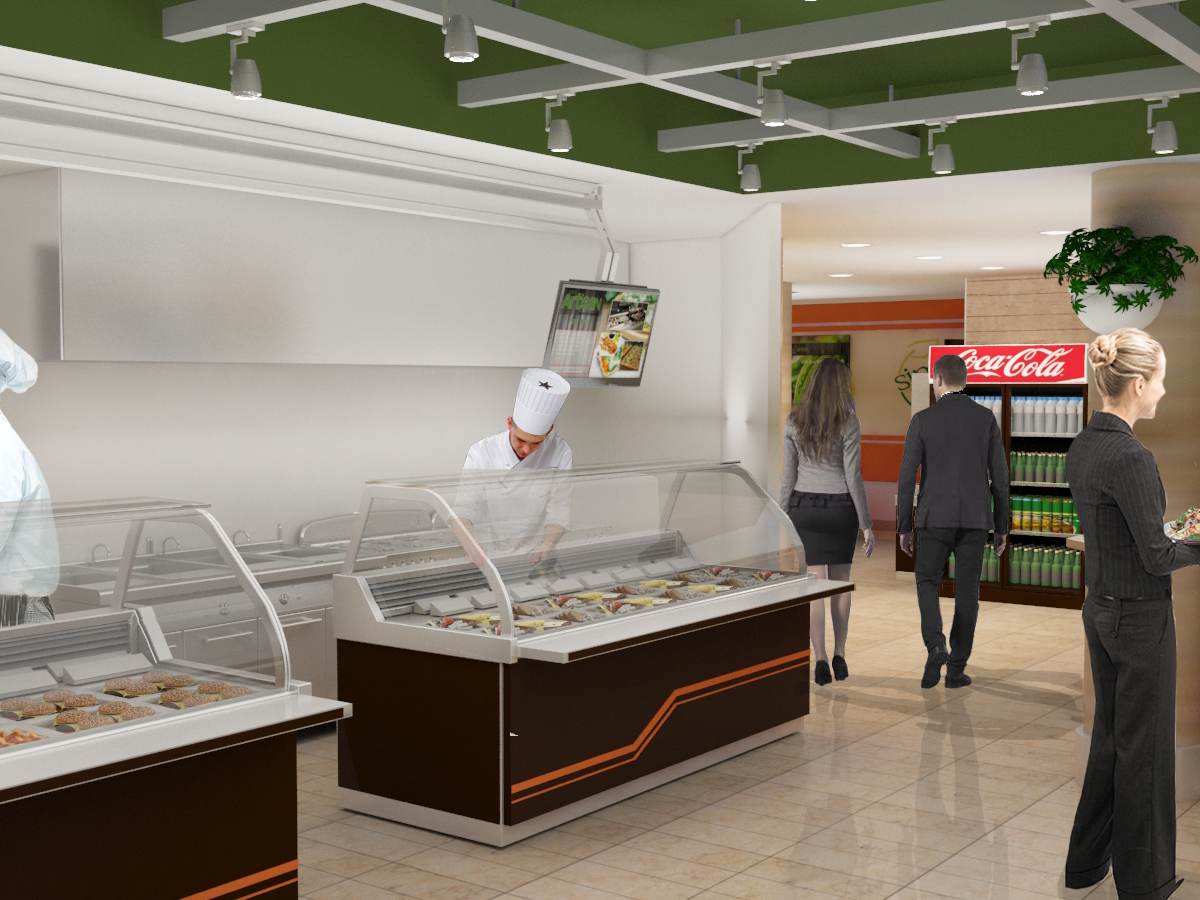 Interior rendering of GSK cafeteria