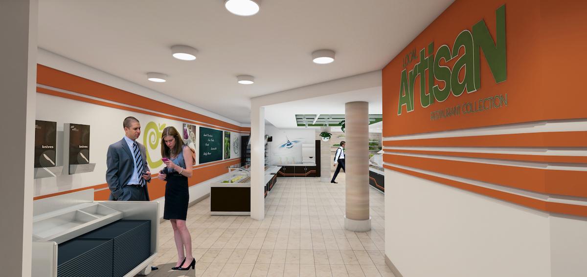 Interior rendering of cafeteria
