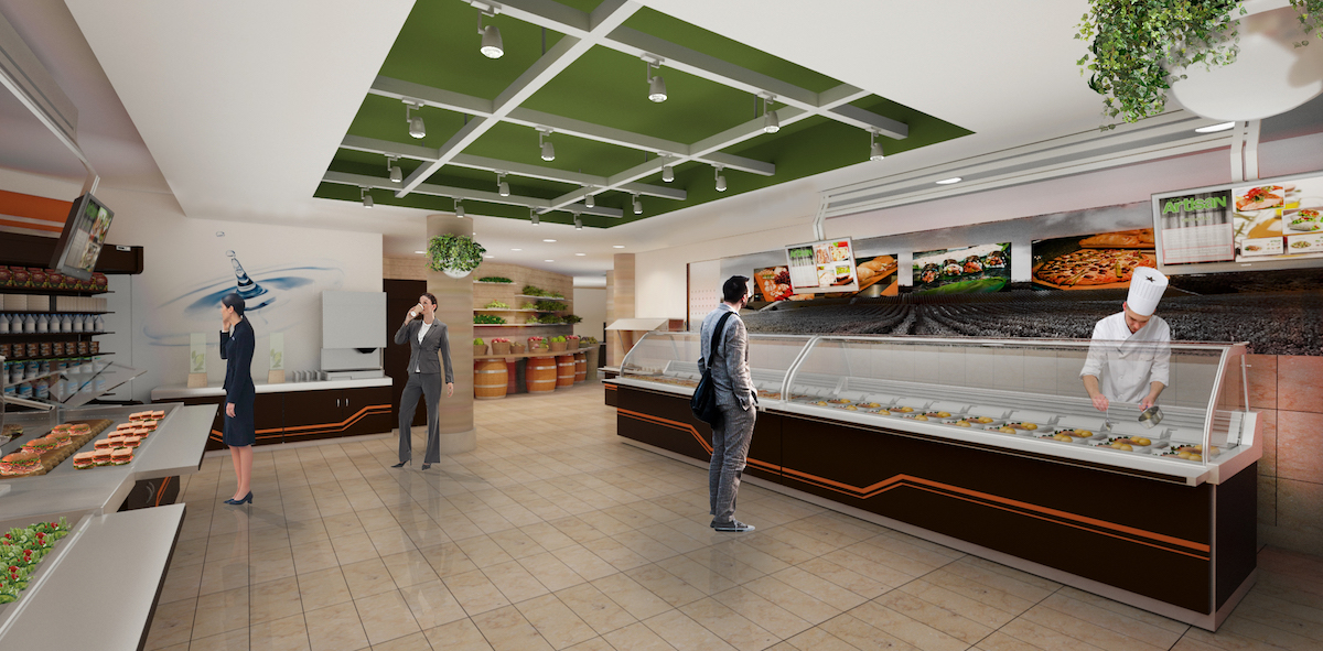 Interior rendering of cafeteria space