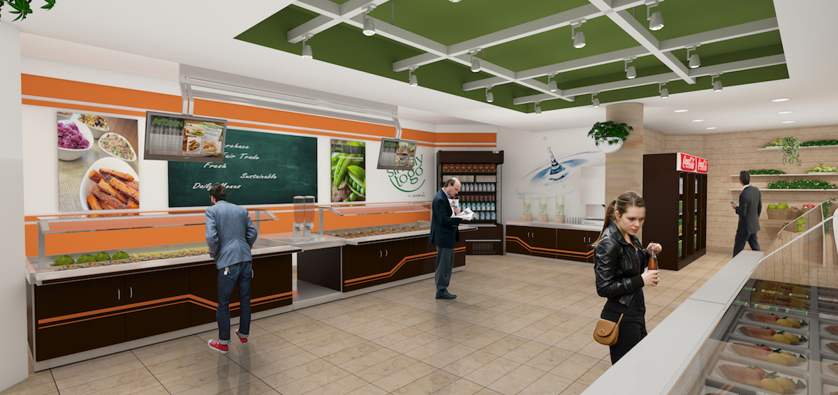 Interior rendering of modern cafeteria