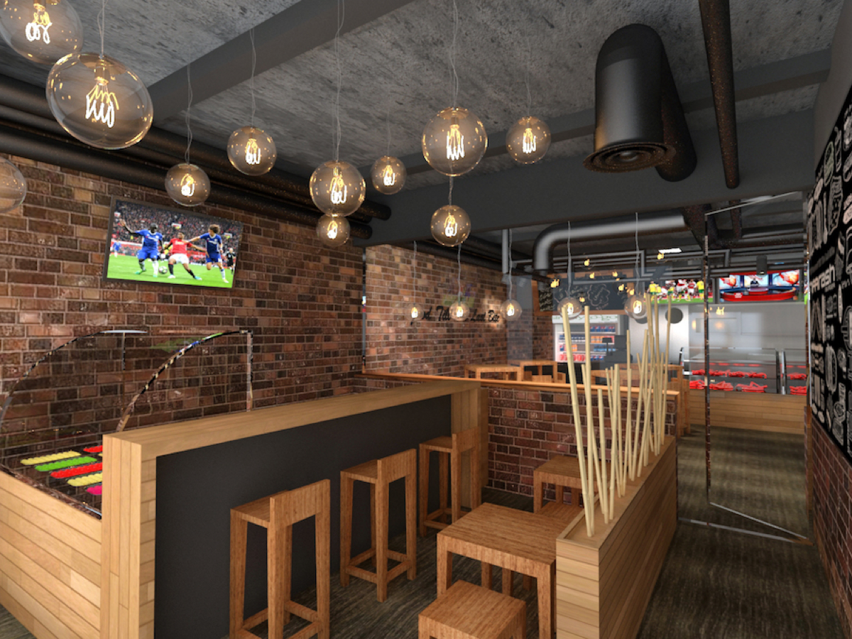 Interior rendering of bar