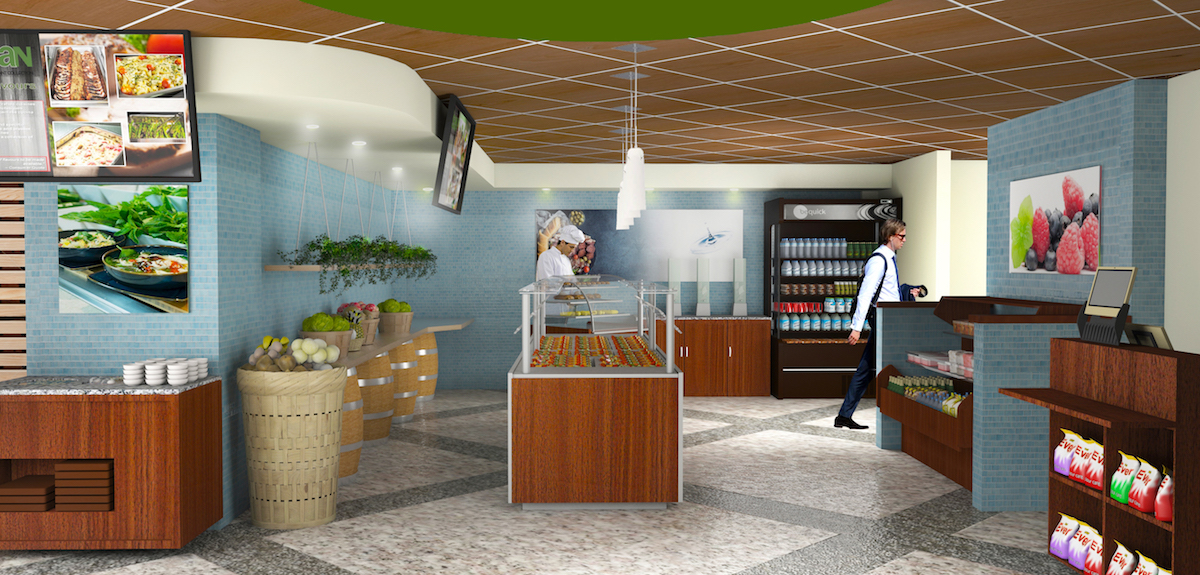 Interior rendering of Sanofi cafeteria