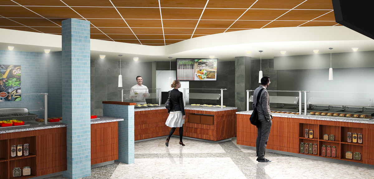 Interior rendering of cafeteria