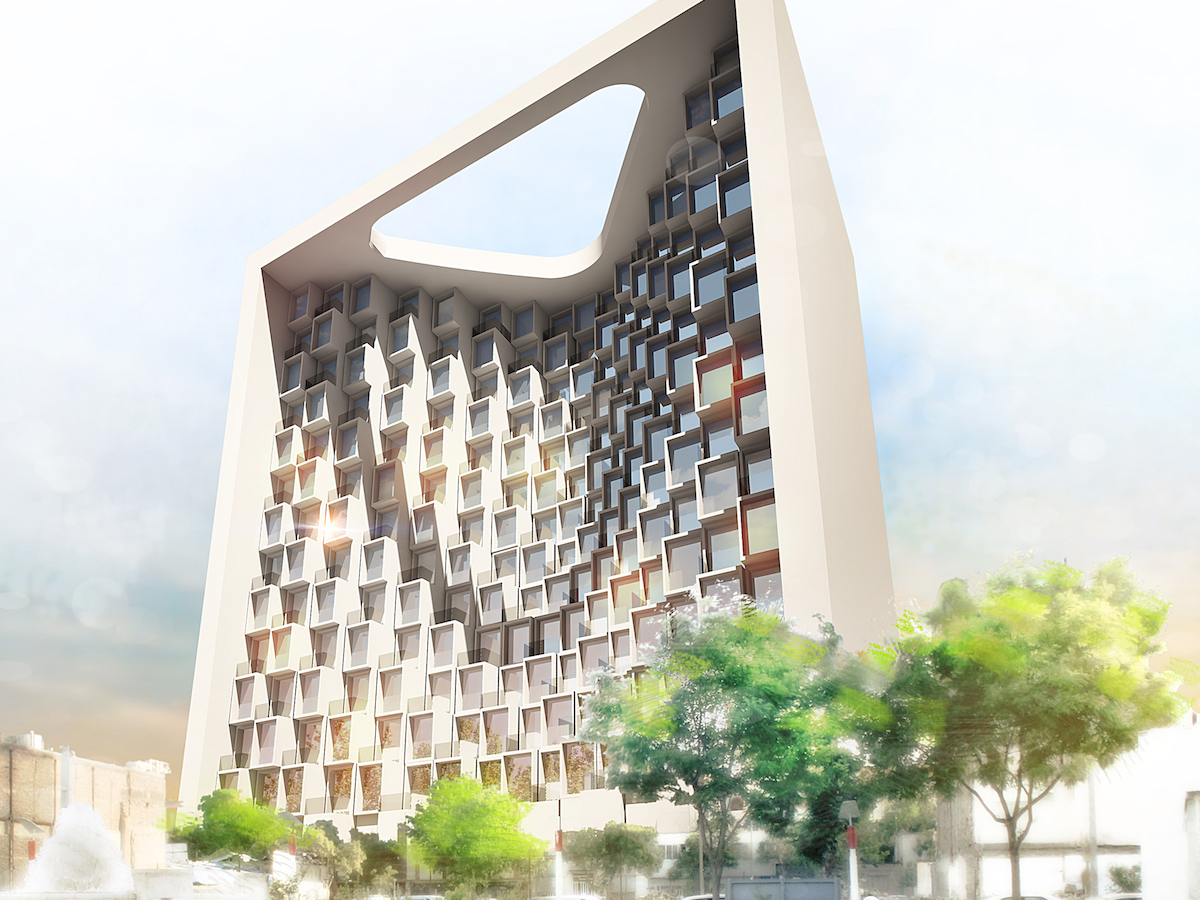 Exterior rendering of hotel